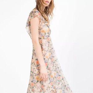 ZARA Sam Floral Lace Overlay Midi  Flutter Dress S